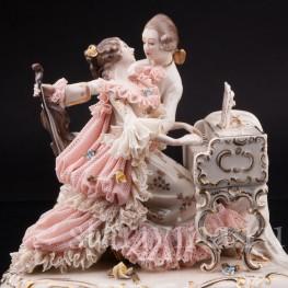 Пара с клавесином и виолончелью, кружевная, Ackermann & Fritze, Германия