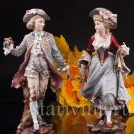 Фарфоровая статуэтка Галантная пара, Volkstedt, Германия, 19 в.