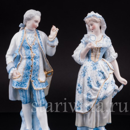 Статуэтки из фарфора Пара в голубом, Vion Baury, Франция, кон. 19 в.