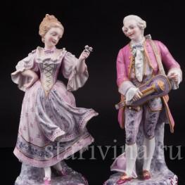 Две фарфоровые статуэтки Танцующая пара в розовых костюмах, Samson, Франция, сер. 19, нач. 20 вв.