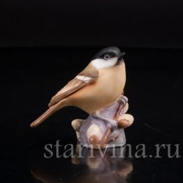 Фигурка птички из фарфора Черноголовая гаичка, Royal Worcester, Великобритания, вт. пол. 20 в.
