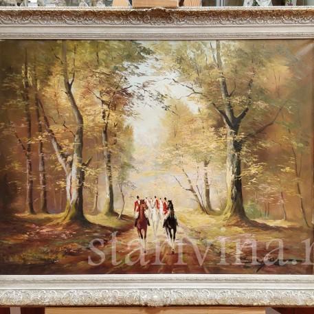 Картина маслом Пейзаж Охотники на лесной дороге, .