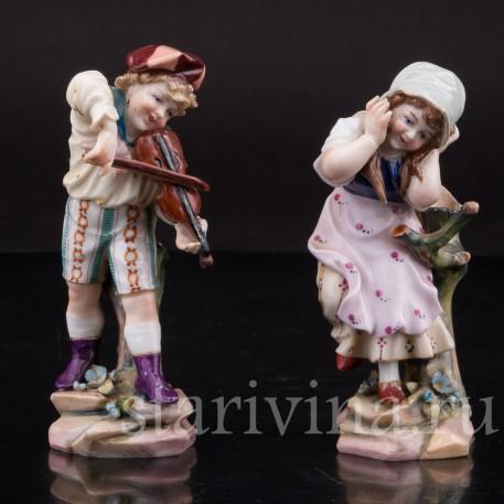 Фигурки из фарфора Дети, миниатюра, Muller & Co, Германия, кон. 19 в., нач. 20 в.