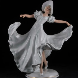 Дама в длинном платье и широкополой шляпе, Schaubach Kunst, Германия, 1953-62 гг