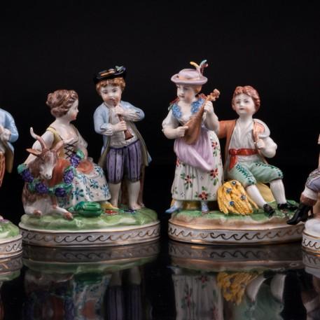 Времена года, 4 статуэтки, Carl Thieme, Германия, вт. пол. 20 в
