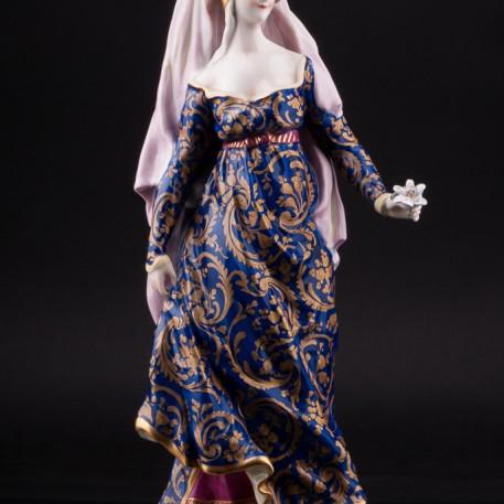 Дама в готическом платье с цветком, Volkstedt, Германия, до 1935 г