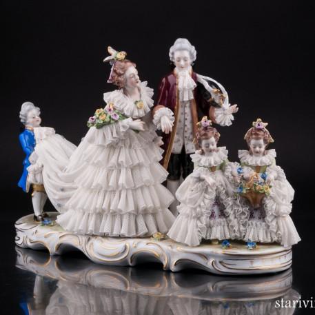 Жених и невеста, кружевная, Volkstedt, Германия, вт. пол. 20 в