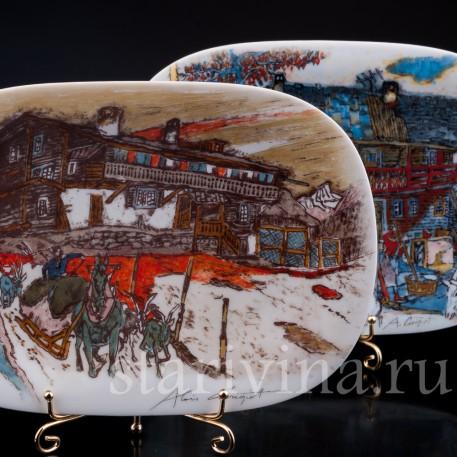 Две декоративные фарфоровые тарелки Виды Родины, Langenthal, Швейцария, 1996 г.