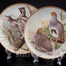 Две декоративные фарфоровые тарелки Дикие птицы мира, Limoges, Франция, 1979 г.