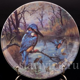 Декоративная фарфоровая тарелка Зимородок, Kahla, Германия, 1995 г.